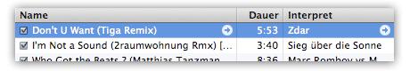 iTunes 8: Pfeile neben Songs